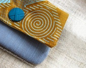 African Purse in Earthy Brown, Yellow and Blue - Unique Geometrical Tribal Design - READY TO SHIP