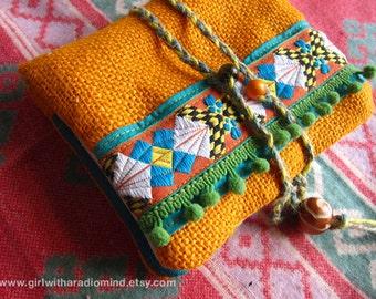 Boho Passport Purse Holder - Yellow Orange Jute with Unique Geometric Folk Trims - Passport Size - Joy