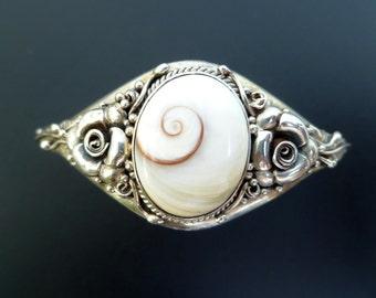 Shiva Eye Cuff Bracelet - Handmade Sterling Silver and Shiva Eye Cuff - Floral Shell Bangle - Made to Order - Custom Made - Statement Cuff