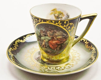 Demitasse Cup and Saucer Bavarian China Renaissance Scene by Mitterteich Espresso Turkish Coffee