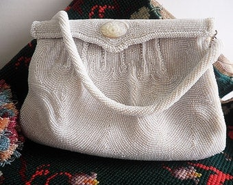 Vintage Evening Bag Seed Pearl Beaded Walborg Wedding Formal MOP Clasp