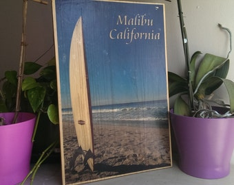 Wood Photo Transfer Malibu California Surf 11x17