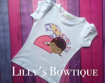 Doc McStuffins inspired Birthday Shirt/Pink, Embroidered Doc Mc Stuffins, Doc Mc stuffins birthday, Personalized Doc Mc Stuffins shirt