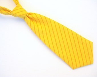 Baby / Toddler Tie - Yellow Stripe - Two Sizes: 0-2 years & 2-4 years