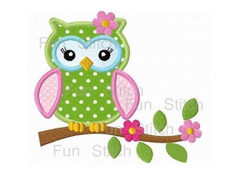 Pretty girl owl on a flower tree applique machine emboridery design