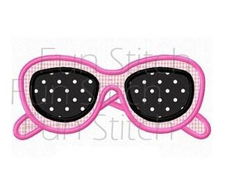 Girl sunglasses applique machine embroidery design