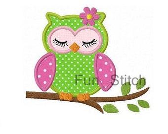 Girl sleeping owl applique machine embroidery design