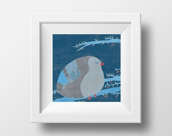 THE BIRD of HAPPINESS - art print // blue birdie illustration // fat and happy pigeon on a tree