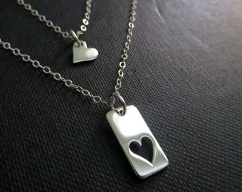 Mother daughter necklace, two silver heart necklace, mother and daughter jewelry, mother's necklace