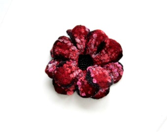 RED Black Pink FLOWER felt  brooch - Ready to Ship Now - Gift under 50 USD