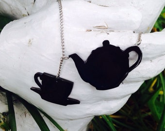 Teapot and Teacup  Silhouette Necklace