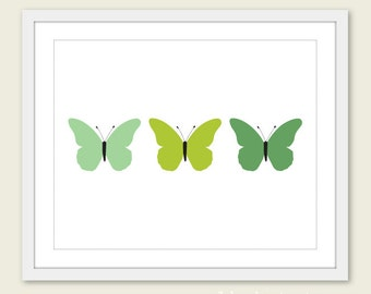 Minimalist Butterflies Art Print -  Green - Wall Art - Under 20