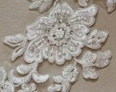 Large ivory Bridal Lace applique - AppSet- 22 SILVER
