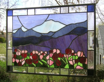 "Mt. Baker with Tulips  15.5"" x 21.5""  Stained Glass Window Panel"