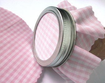 12 Pastel Pink Gingham Jam Jar Covers, cloth toppers fabric for mason jars, food preservation, baby girl shower favor jars, cottage chic