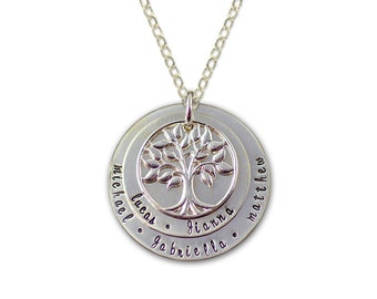 Personalized Family Tree Necklace Includes 4 Birthstone Crystals - Layered Family Tree Disc Necklace - Hand Stamped Silver