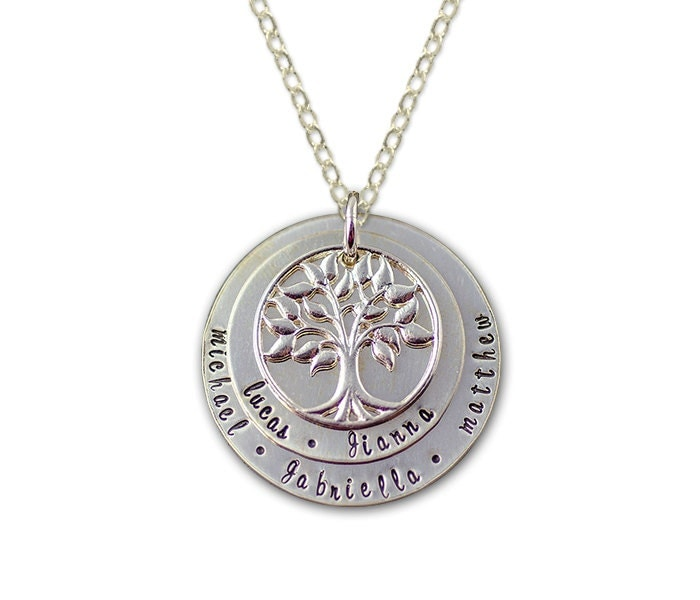 personalized family tree necklace layered by