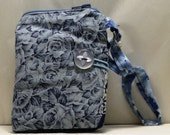 Bluish Gray  Floral Print Fabric Wallet with Wristlet and Keyring (147)
