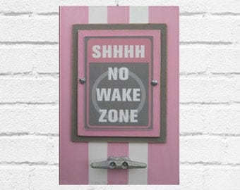 Framed Nautical Nursery Print Shhhh No Wake Zone in Light Pink and Gray