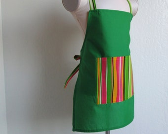 Childrens Apron - SUMMER SALE-A Green Vibrant Apron with Fun Stripes, sweet cooking apron for a little chef or for creating arts and crafts