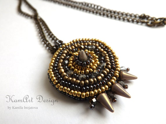 Bead embroidery pendant necklace, beadwork Aztec circle and spike gold bronze handmade, gift for her