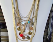 Necklace lot - Apple, star, rhinestone, MOM, fringe, etc. Lot - Jewelry supplies - Pendants - Charms - cheesegrits