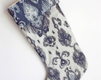 Ikat Christmas Stocking / Holiday Stocking / Ikat Blue, Grey & White Damask
