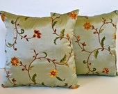 Sage Green Silk Pillow with Embroidered Flowers