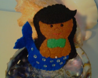 Little Mermaid Felt Ornament--Black Hair