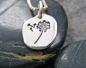 Sterling Dandelion Necklace,  Dandelion Jewelry, Sterling Dandelion Charm Necklace, Hand Stamped Necklace