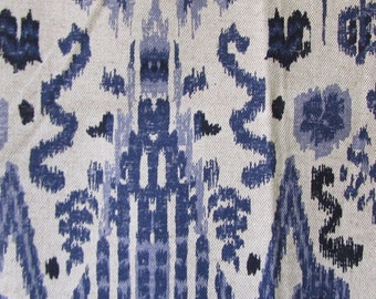 MUMBAI INDIAN BLUE/indigo ikat designer, drapery/bedding/upholstery fabric