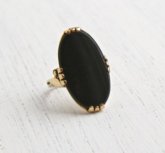 black stone gold ring - photo #10