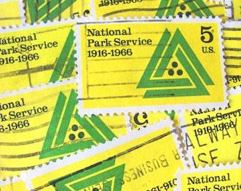 National Park Service 30 Vintage US Postage Stamps Conservation Environment 60s Design Mod Green Yellow Scrapbooking Ephemera Philately