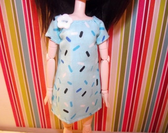 Light blue with sprinkles shirt dress for pullip