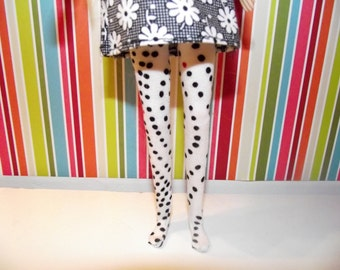 White with black and red polka dots leggings tights for Pullip doll