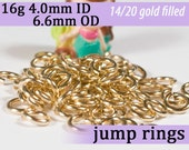 16g 4.0mm ID 6.6mm OD 14k gold filled jump rings -- goldfilled fill jumprings 16g4.00 jewelry supplies findings