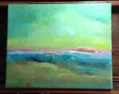 """Original  Landscape Abstract painting """"Seashore"""" 10 wide x 8 high"""