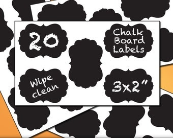 Chalkboard Vinyl Jar Labels Stickers - 20 Curvy Frame 2x3 Vinyl Labels - All One Style