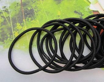 50pc black hair elastics,ponytail elastics,ponytail holders,hair ties,skinny elastic