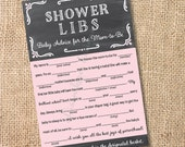 Chalkboard Pink and Gray - Printable Baby Shower Mad Libs Advice for the Mom-to-Be - INSTANT DOWNLOAD