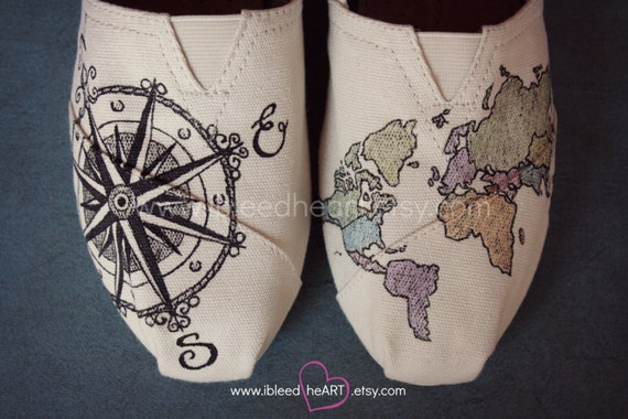 Custom Painted TOMS Shoes - Wanderlust Adventure Travel Compass and Colored World Map - Adult