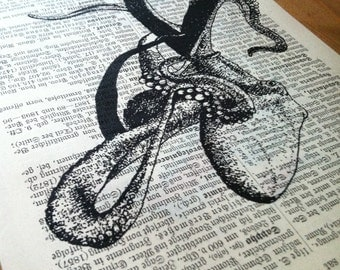 Dancing Octopus Art Print on Antique 1896 Dictionary Book Page