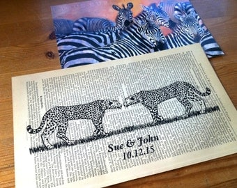 Wild Cheetah Love Wedding Valentine Anniversary Engagement Gift Personalized Art Print on Antique 1896 Dictionary Book Page