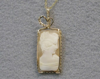Shell Cameo and Gold-filled Wire Pendant