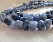 Blue AVENTURINE Beads, Smooth Pebble Nuggets Chip Gemstones, 1 Strand, Approx 50 Pieces, 5mm to 8mm, GB127