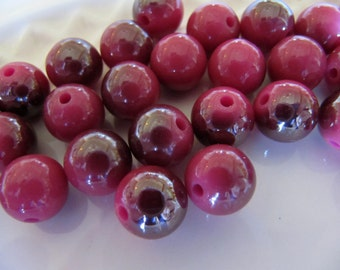 10mm Resin Beads in Dusty Pink, Half Plated, AB Finish 10mm, Round, 20 Pieces