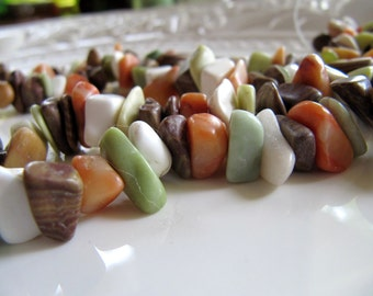 Gemstone Chip Beads, Marble, Jasper, Turquoise, New Jade Nuggets, 1 Strand 15 Inches, Approx 80 Beads, Earth Tones