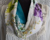 Vintage Hankie infinity scarf with turquoise, purple, and green hankies