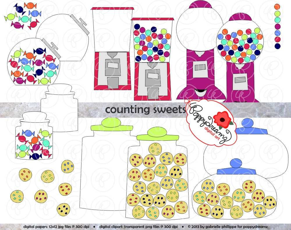 Counting Sweets Candy Gumball & Cookie Clipart Set 300 dpi