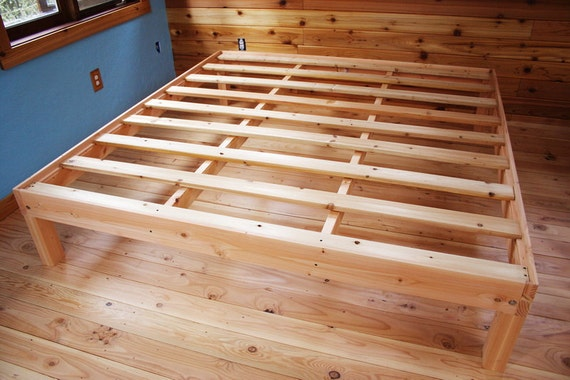Custom king size solid fir platform bed frame